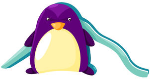 Pingüino con la diapositiva del patio Fotos de archivo libres de regalías