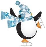 Pingüino con la ilustración azul del patinaje de hielo del sombrero Foto de archivo libre de regalías