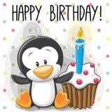 Pingüino con la torta ilustración del vector
