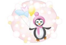 Pingüino con los globos Stock de ilustración