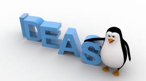 pingüino 3d con concepto azul del texto de las IDEAS Imagen de archivo