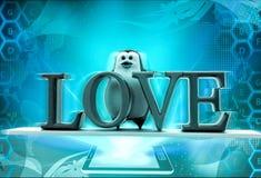 pingüino 3d con concepto del texto del amor Foto de archivo libre de regalías
