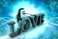 pingüino 3d con concepto del texto del amor Imágenes de archivo libres de regalías