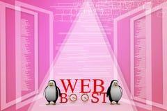 pingüino 3D con el ejemplo de impulso del concepto del web Imagen de archivo