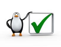 pingüino 3d con la marca de la señal del control Foto de archivo libre de regalías