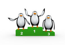 pingüino 3d en el podio del ganador Fotografía de archivo libre de regalías