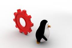 pingüino 3d que corre de rodar concepto grande de la rueda dentada Foto de archivo libre de regalías
