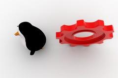 pingüino 3d que corre de rodar concepto grande de la rueda dentada Fotos de archivo libres de regalías
