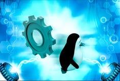pingüino 3d que corre de rodar el ejemplo grande de la rueda dentada Fotografía de archivo libre de regalías