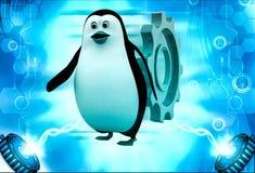 pingüino 3d que corre de rodar el ejemplo grande de la rueda dentada Fotos de archivo