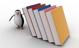 pingüino 3d que funciona con de los libros grandes que caen en él concepto Fotos de archivo libres de regalías