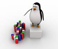 pingüino 3d que hace concepto colorido del símbolo del dólar Imagenes de archivo
