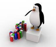 pingüino 3d que hace concepto colorido del símbolo del dólar Imagen de archivo libre de regalías