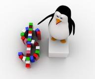pingüino 3d que hace concepto colorido del símbolo del dólar Imagen de archivo