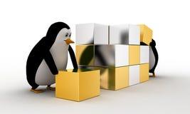 pingüino 3d que hace el cubo grande de la pequeña plata y del concepto de oro de los cubos Imagenes de archivo