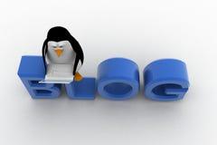 pingüino 3d que se sienta en el texto de la fuente del blog y que trabaja en concepto del ordenador portátil Foto de archivo