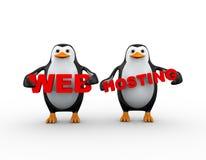 pingüino 3d que sostiene web hosting Imagen de archivo