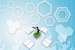 pingüino 3d sobre el ejemplo de libros abiertos y cerrados del espacio en blanco Fotos de archivo libres de regalías