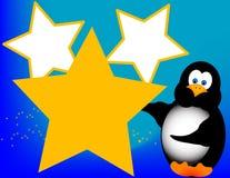 Pingüino de la historieta con las estrellas Fotos de archivo