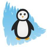 Pingüino de la historieta en un fondo azul abstracto, representando un hielo libre illustration