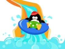 Pingüino en diapositiva de agua