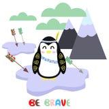 Pingüino en el ejemplo escandinavo del vector del estilo, EPS stock de ilustración