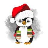 Pingüino en el sombrero de Santa Claus y con los guantes Ilustración del vector Fotografía de archivo libre de regalías