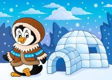 Pingüino en el tema 2 de la ropa del invierno ilustración del vector