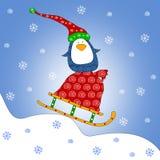 Pingüino en el trineo Foto de archivo