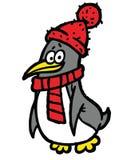 Pingüino en la ilustración de la bufanda y del sombrero Fotografía de archivo libre de regalías