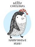 Pingüino en los sombreros de Papá Noel Fotos de archivo libres de regalías