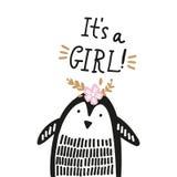 Pingüino exhausto de la mano linda del cuarto de niños pequeño, estampado de animales del bebé libre illustration