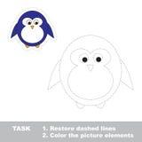 pingüino Línea discontinua del restablecimiento y imagen del color Imagen de archivo