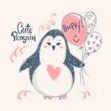 Pingüino lindo Diseño de la impresión del vector para las camisetas del niño, el vestido o las tarjetas de felicitación Imagenes de archivo