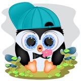 Pingüino lindo en el prado stock de ilustración