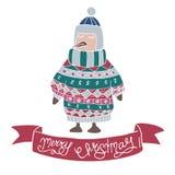 Pingüino lindo en estilo dibujado ornamental del jersey y del casquillo del invierno a disposición en un fondo blanco Libre Illustration