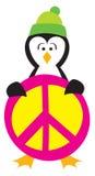 Pingüino que lleva a cabo un signo de la paz Imágenes de archivo libres de regalías