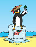 Pingüino que lleva a cabo una bebida y que se sienta en el bloque de hielo Fotografía de archivo libre de regalías