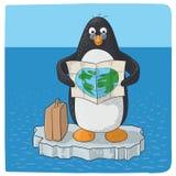 Pingüino que lucha con el cambio de clima stock de ilustración