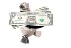 Pingüino que ofrece los dólares verdaderos de santa Imagenes de archivo