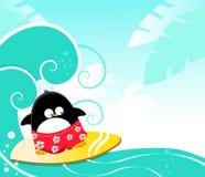 Pingüino que practica surf Imagen de archivo libre de regalías