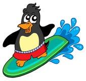 Pingüino que practica surf Fotos de archivo libres de regalías