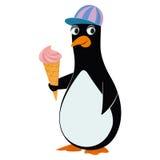 Pingüino y helado Foto de archivo libre de regalías