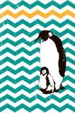 Pingüinos bebé y padre stock de ilustración