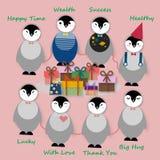 Pingüinos con los presentes en fiesta de cumpleaños Fotos de archivo