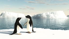 Pingüinos de Adelie en un iceberg stock de ilustración