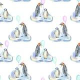 Pingüinos de la acuarela con los balones de aire en modelo inconsútil de las masas de hielo flotante de hielo ilustración del vector