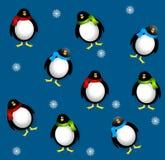 Pingüinos de Navidad de Tileable Foto de archivo libre de regalías