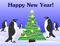Pingüinos del Año Nuevo y árbol de abeto Imagen de archivo libre de regalías
