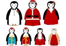 Pingüinos del día de fiesta de la Navidad [VECTOR] Imagen de archivo